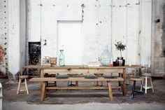 Industrial interiors. I definitely want one of these long tables in my house! :)