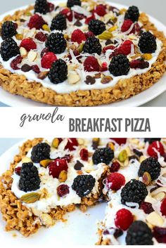Granola Breakfast Pizza: this recipes is healthy and easy! Perfect for breakfast or brunch!