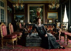 Ann Getty poses for Harper's Bazaar in her Russian inspired Music Room