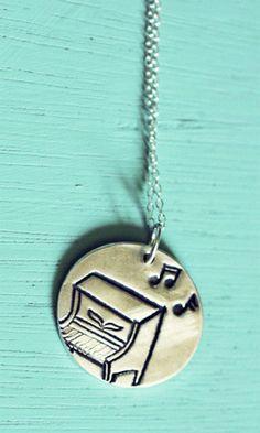 Silver Piano Necklace