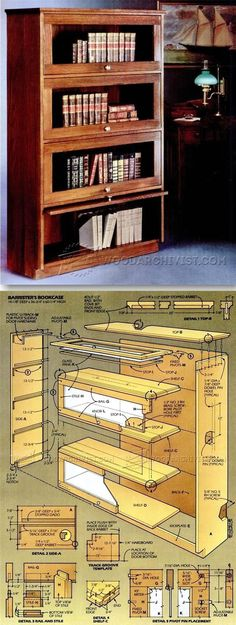 Barristers Bookcase Plans - Furniture Plans and Projects - Woodwork, Woodworking, Woodworking Plans, Woodworking Projects Woodworking Furniture Plans, Easy Woodworking Projects, Woodworking Wood, Diy Wood Projects, Furniture Projects, Diy Furniture, Muebles Home, Barrister Bookcase, Bookcases