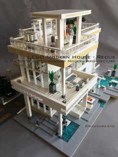 LEGO MOC Modern House Redux - Mid Century Modern Architecture - rear areaYou can find Lego house and more on our website. Lego Architecture, Modern Architecture House, Lego City, Lego Poster, Casa Lego, Lego Activities, Lego Games, Lego Furniture, Lego Craft