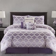 Purple Ivory LUXURY JACQUARD MODERN GEOMETRIC TRELLIS 7PC Comforter SET KING