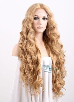 Long Curly Golden Blonde Made-To-Order Lace Front Synthetic Hair Wig Face Shape Hairstyles, Black Women Hairstyles, Wig Hairstyles, Haircuts, Long Red Hair, Long Curly, Long Blonde Wig, Blonde Hair, Wig Styles