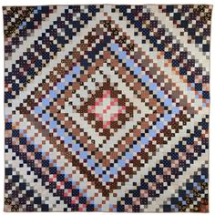 Four Patch Barnraising Quilt   From a unique collection of antique and modern quilts at https://www.1stdibs.com/furniture/folk-art/quilts/