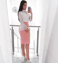 Am💗r em forma de look 🙀😻💘 Designer Party Dresses, Cheap Party Dresses, Party Dresses Online, Casual Work Outfits, Casual Dresses, Modest Fashion, Fashion Dresses, Autumn Fashion Curvy, Modest Wear