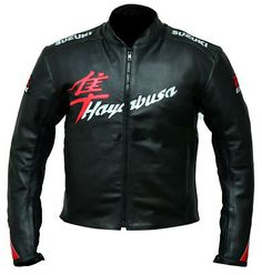 Best of its kind, black Suzuki Hayabusa Leather Jacket. Made from premium quality cowhide leather and enforced with CE Approved protection.