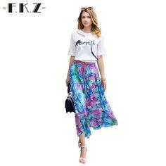 FKZ Vogue Summer Chiffon Women Skirt Casual Streetwear Floral Pattern Printed Skirts Women Boho High Waist Femme Skirts SKQ8044 #Affiliate