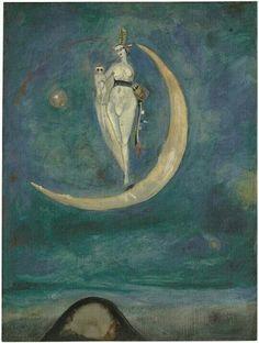 Moon Goddess, 1925 by Curt Echtermeyer . Triple Goddess, Moon Goddess, Red Moon, Weird Creatures, Fantastic Art, Gods And Goddesses, Surreal Art, Stars And Moon, Painting Techniques