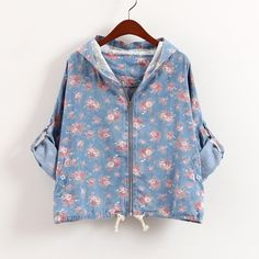 Vintage flower girl denim hooded coat $34.90  denim coat