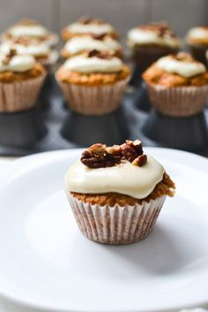 Carrot Cupcakes with Honey Cream Cheese Frosting