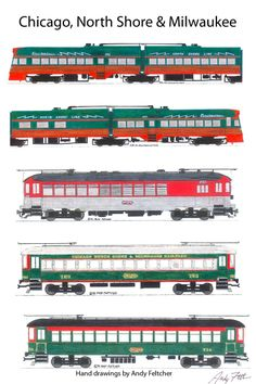 5 hand drawn Chicago & North Shore & Milwaukee drawings by Andy Fletcher