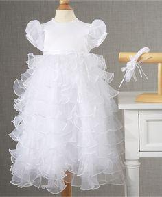 Lauren Madison Baby Dress, Baby Girls Tiered Christening Dress with Headband - Kids Baby Girl (0-24 months) - Macy's