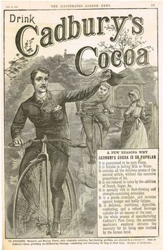 "Antique Magazine Advertising - ""CADBURY'S COCOA - BIKE"" - Ephemera - 1886"
