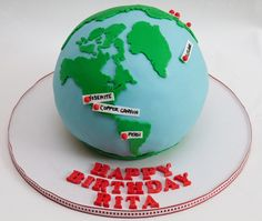 Hiking The World Globe Cake Made for a Birthday. Vanilla cake with chocolate ganache. Made using the Wilton Sports Ball Pan. Themed Birthday Cakes, 11th Birthday, Birthday Ideas, Globe Cake, School Cake, Travel Cake, World Globes, Unique Cakes, Cupcakes