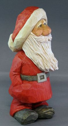Santa Christmas gnome wood carving: