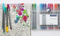 Staedtler Triplus Liners / tips for Secret Garden coloring book. Summer idea