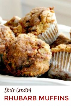 A made from scratch rhubarb muffin recipe that is extra moist because of the addition of sour cream. Strawberry Rhubarb Muffins, Rhubarb Cake, Rhubarb Scones, Raspberry Rhubarb, Muffin Recipes, Baking Recipes, Ruhbarb Recipes, Cupcake Recipes, Sour Cream Muffins