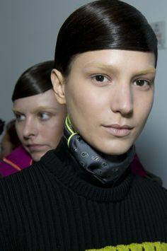 Alexander Wang Fall 2014 hair - Guido Palau. And I LOVE the bleached eyebrows - am over everyone powdering theirs dark.