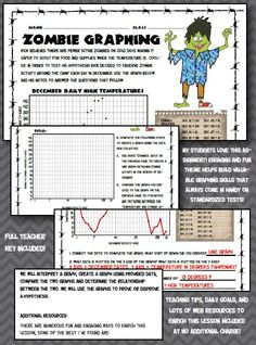 FUN SUMMER REVIEW! My students love this zombie themed line graph activity. Students discover the safest time to scout for food and supplies by comparing Rick's notes of zombie activity and daily high temperature. My middle school students love anything zombie related and this assignment builds valuable graphing skills while keeping them fully engaged!