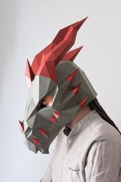 Dragon costume papercraft mask by SmagaPaperwood Cardboard Costume, Cardboard Mask, Wolf Maske, Mens Masquerade Mask, Masquerade Party, Paper Face Mask, Skyrim Cosplay, Mascara 3d, New Year Diy