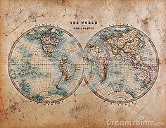 Carte de Vieux Monde dans les hémisphères