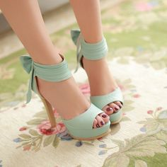 Garden Party Heels - Ankle Strap Blue Bow Design Sandals