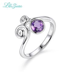 I&Zuan White Gold 925 Sterling Silver Jewelry Rings For Woman Amethyst Purple Stone Ring Fine Jewelry Fashion Accessory 1269