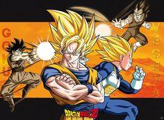 Poster laminado Dragon Ball, Goku vs Vegeta. 52 x 38 cm  Poster de  Dragón Ball donde podemos la especial relación entre Goku y Vegeta a veces luchando juntos, otras veces rivales.