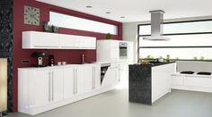 Küchen Meyer fronten in violett matt lack mit frontabsetzungen in hochglanz