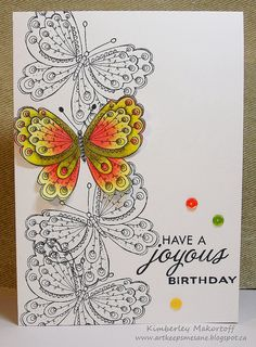 -I could see this with cutouts and layered top butterfly Birthday Joy Hand Made Greeting Cards, Making Greeting Cards, Kirigami, Card Making Inspiration, Making Ideas, Happy Birthday Cards, Bday Cards, Birthday Wishes, Beautiful Handmade Cards