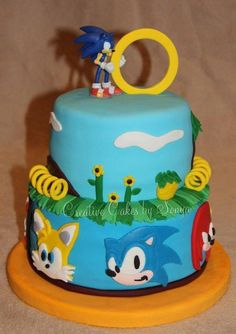 Sonic the Hedgehog - Cake by Sonya Sonic the Hedgehog - Cake by So. Sonic the Hedgeh Sonic Birthday Cake, Sonic Birthday Parties, Birthday Fun, Birthday Ideas, Bolo Sonic, Sonic Cake, Sonic Party, Cupcakes, Cupcake Cakes