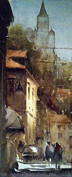 atercolor, Gardoš, Zemun, 16x38 cm - SOLD