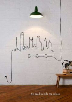 Love this idea! You could use a projector to make a skyline to trace