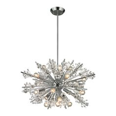 Starburst Chandelier features chandelier in Polished Chrome. 60 watt, 120 volt B10 Candelabra base incandescent bulbs are required, but not included. Extra Small: 20 inch width x 18 inch height. Small: 26 inch width x 17 inch height. Medium: 36 inch width x 19 inch height. Large: 48 inch width x 20 inch height. Extra Large: 72 inch width x 36 inch height.
