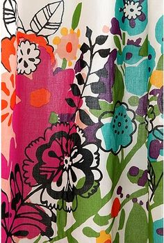 fun print for curtains in the den