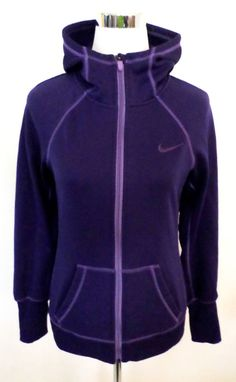 Womens Size S NIKE Therma Fit Purple Hoodie, Full Zip, High Neck Coverage