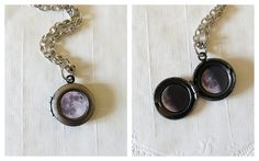 Tiny antique silver locket, featuring three moon phases. You can wear this solar system necklace with your casual or elegant outfit, which
