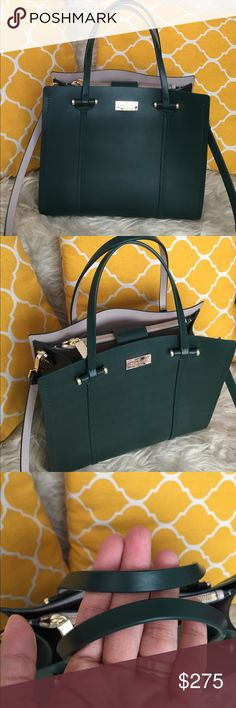 """🌸OFFERS?🌸Kate Spade All Leather Green Satchel 🌷Authentic🌷Excellent shape. Minimal sign of use. Features removable and adjustable strap, pockets inside, magnetic snap button to close and metal feet for protection. Great for work/school/travel or an everyday purse. Wear it as handbag, shoulder or crossbody. Don't be shy to make an offer💕 Dimensions: L10"""" H9.5 Bottom Width5.5 Handle Drop5.5"""" kate spade Bags Satchels"""