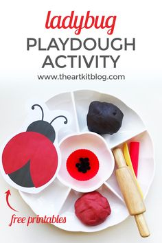 Ladybug Themed Playdough Activity {Playdough Recipe Included} Today we're sharing the first of several ladybug themed activities. First up is our ladybug themed playdough activity, which is just perfect for toddlers, preschoolers, and even those Bug Activities, Playdough Activities, Preschool Activities, Preschool Education, Summer Activities, Art Education, Toddler Preschool, Preschool Crafts, Fun Crafts