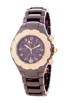 Women's Tahitian Diamond Rose Gold Brown Ceramic Watch   Lovin Rose Gold right now!
