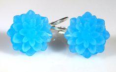 Earrings Blue Flower Silver Leverback by TheCraftyPandaGirl, $8.00