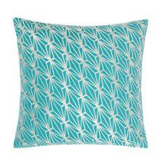 Turquoise metallic embroidered geometric cushion - Cushions throws & rugs - Debenhams.com