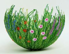 bowl made by free machine embroidering on soluble fabric