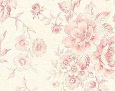 Wallpaper - Powdered Pink Vintage Inspired Floral Toile - Watercolor, Shabby Cottage, Flower, Country Chic - By The Yard - CG28818 so