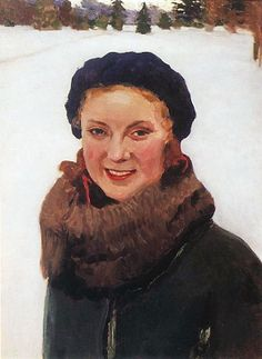 Winter. Portrait of the Painter's Daughter - Igor Grabar