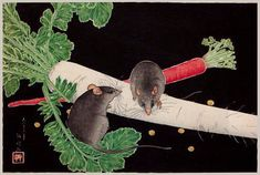 hanga gallery . . . torii gallery: Japanese Radish, Rats, and Carrot by Takahashi Shotei