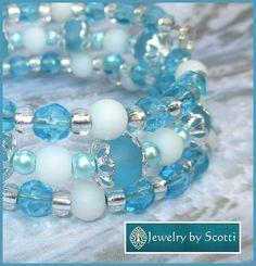 Blue Sea Glass Wrap Bracelet Her Blue Bracelet by JewelryByScotti