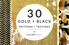 Gold + Black Patterns and Textures by Coral Antler Creative on @creativemarket