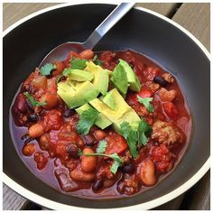 Game Day Chili is healthy & DELICIOUS.  I like mine with avocado and cilantro. The recipe is on my blog.  #healthy #food #recipe #eatclean #HealthCoach #chili
